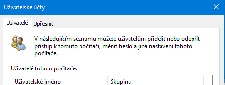 Zobrazeni netplwiz ve Windows 10 20H2